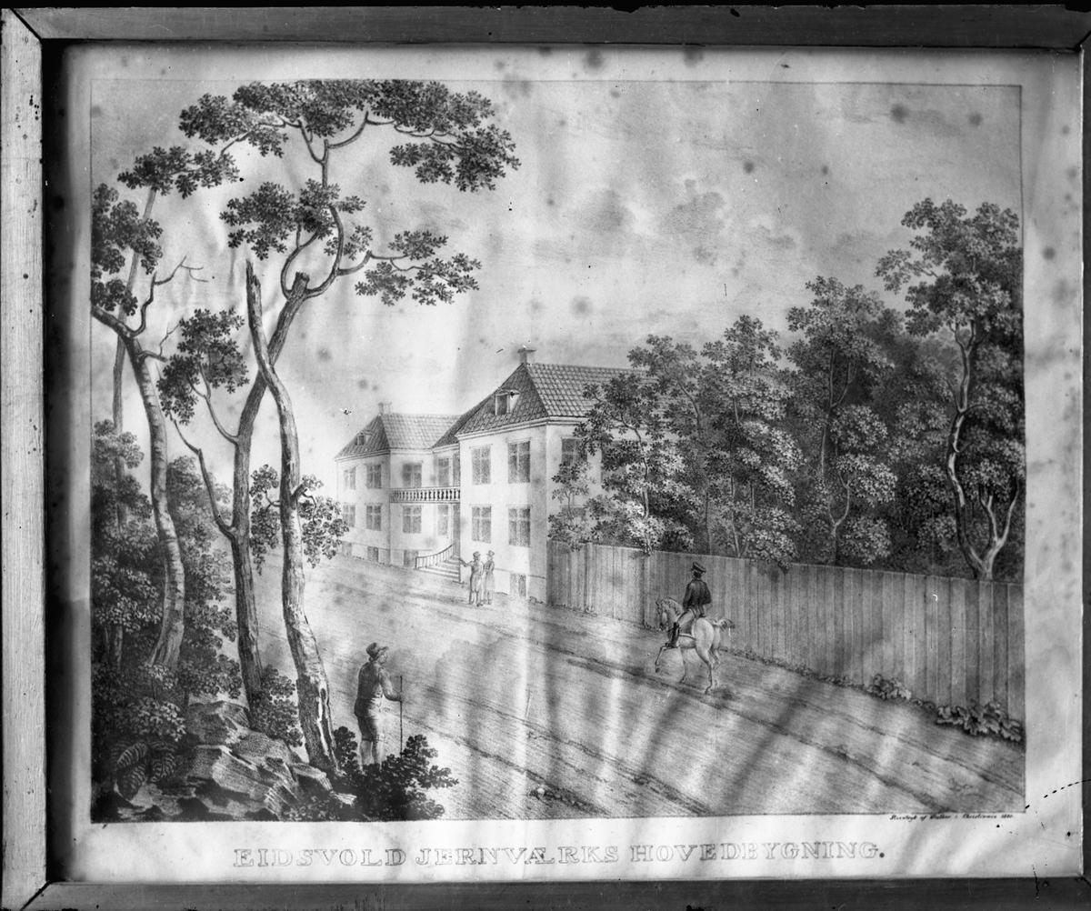 """Avbildet maleri av """"Eidsvold Jernværks hovedbygning"""" – Eidsvollbygningen."""