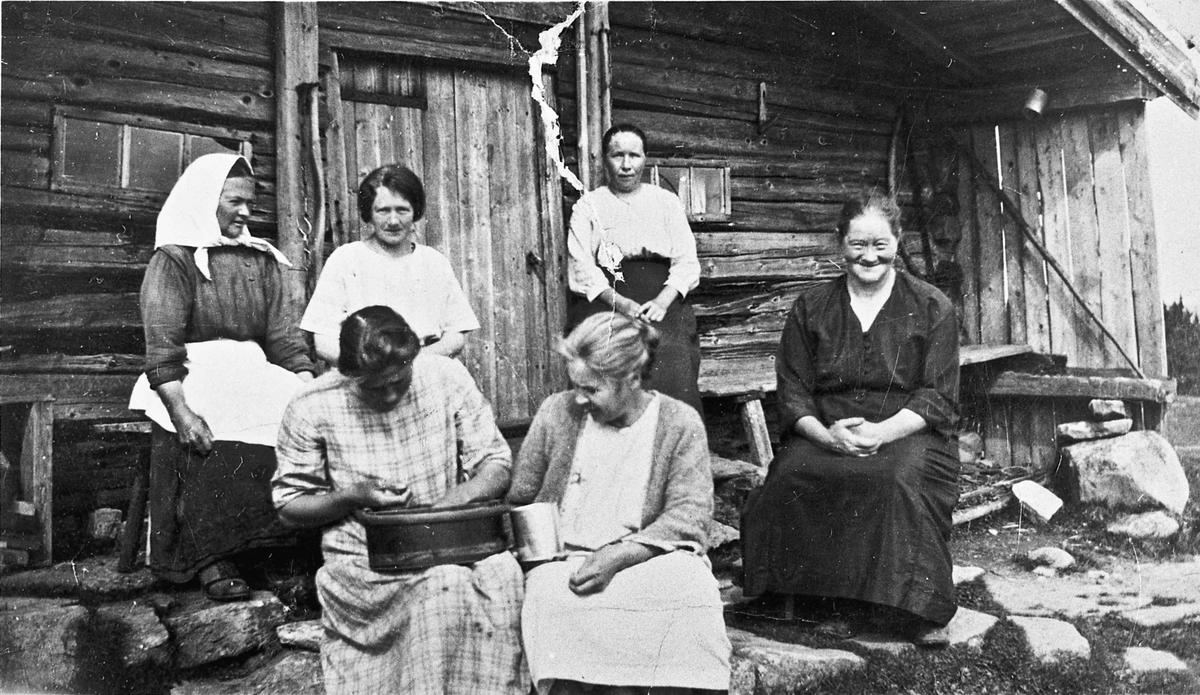 Kvinner utenfor et tømmerhus.