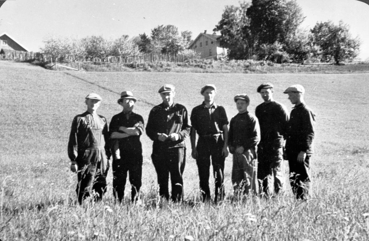 Arbeidskarer på Tjern gård, Ringsaker. Fra venstre er Oskar Johnsen, ukjent, Sverre Syversen, Einar Johansen, Mauritz Bekken, Kåre Syversen, Olaf Sjørengen.