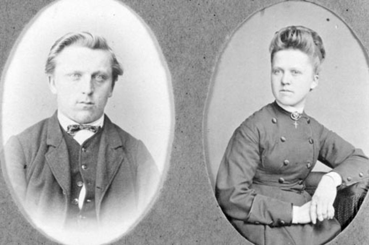 Even Evensen Mengshoel (1846-1930) og Amalie Evensdatter Mengshoel (1854-1879).