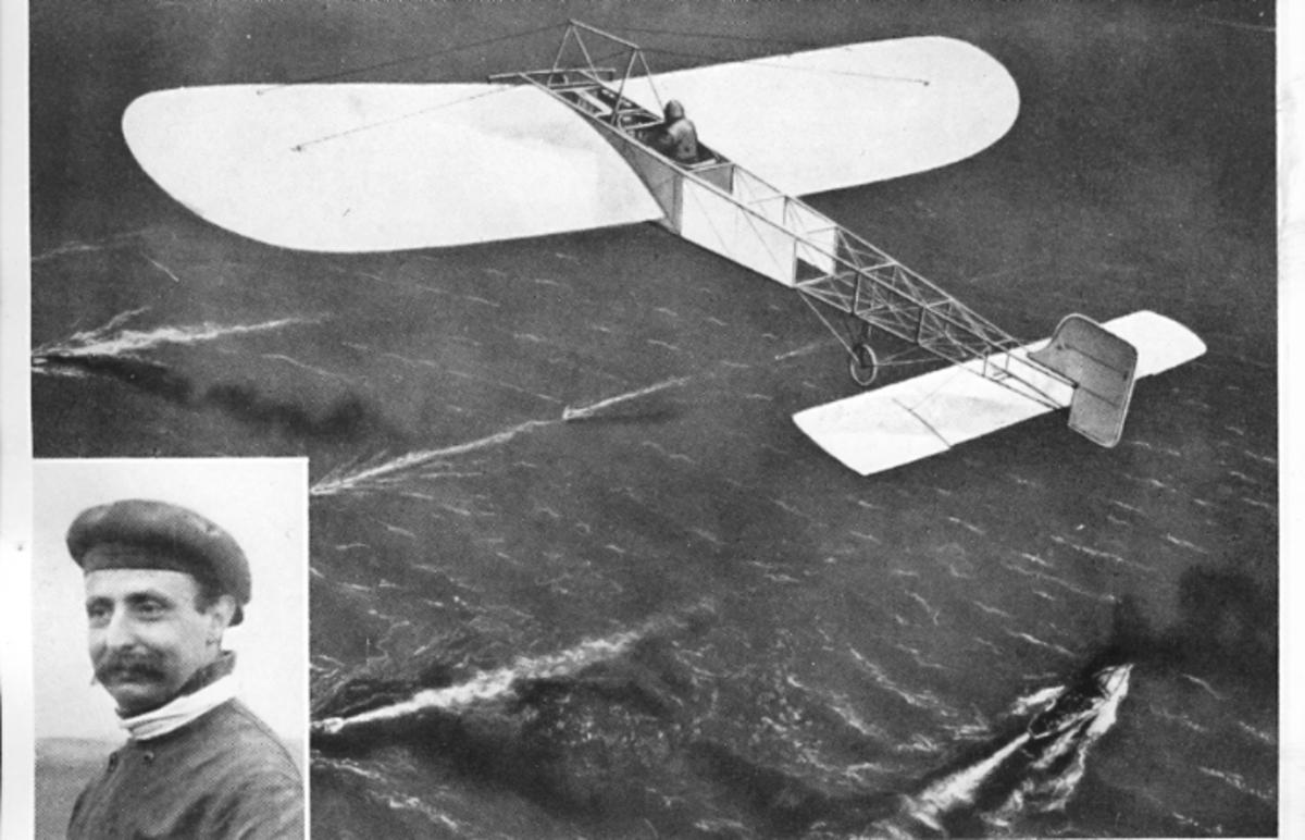 Första flygningen över Engelska kanalen 25/7 1909. Infälld: Luis Bleriot.