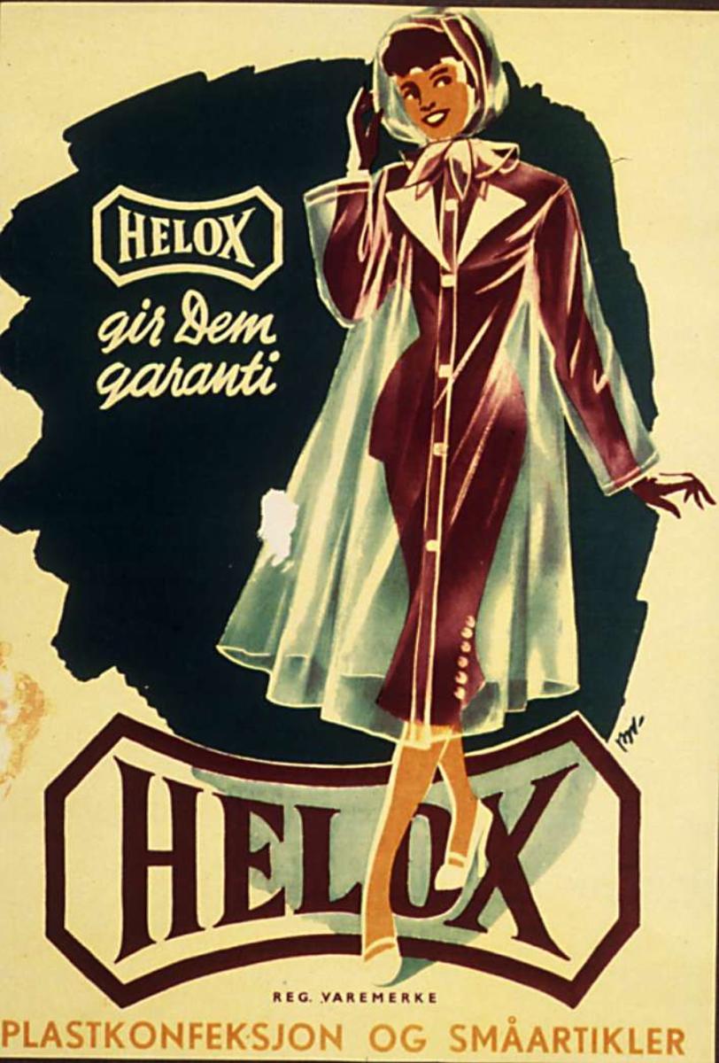 Reklame, tegning, dame i gjennomsiktig plastkåpe over lilla drakt