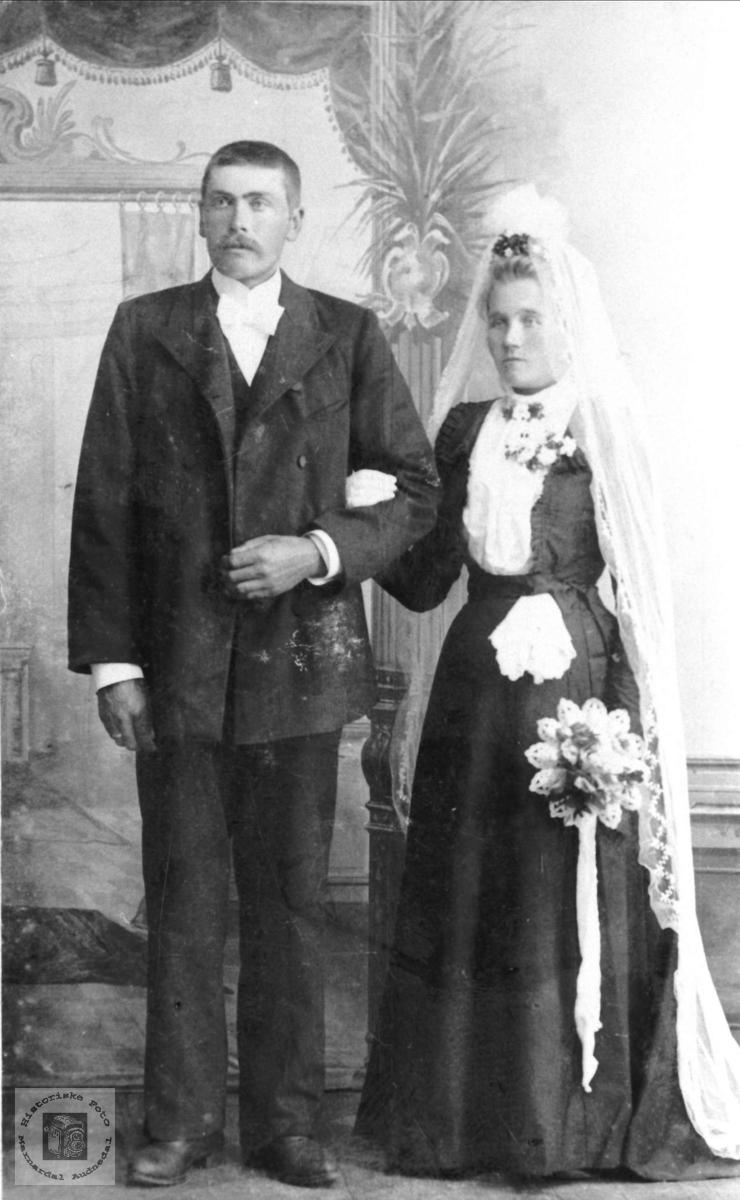 Portrett av brudeparet Nikolai og Gurine Marie Håland.