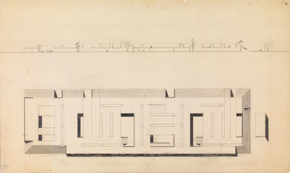 Museumsanlegg i Leopoldville. Fasadeoppriss og plan. [Plantegning]