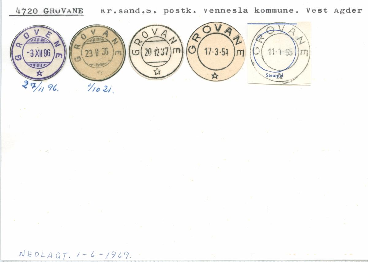 Stempelkatalog 4720 Grovane (Grovene), Kristiansand, Vennesla, Vest-Agder