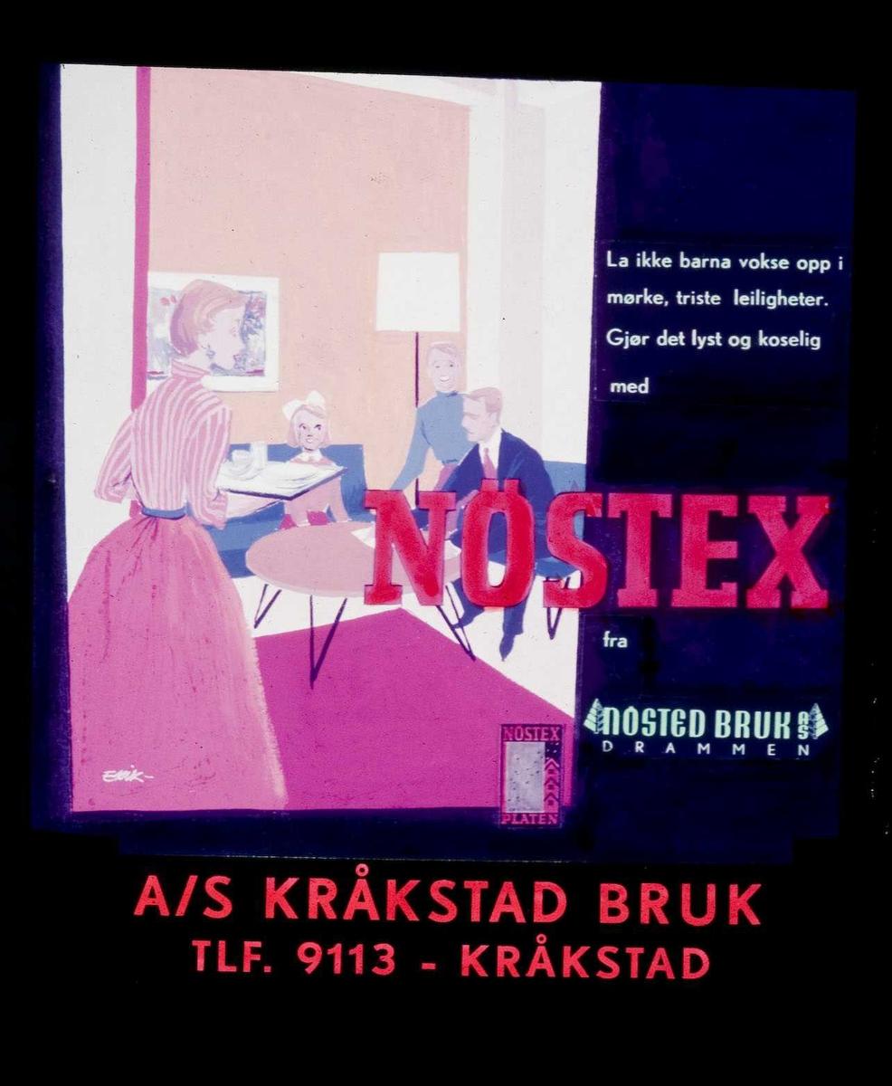 Kinoreklame fra Ski for Nöstex-plater. La ikke barna vokse opp i mørke, triste leiligheter. Gjør det lyst og koselig med Nöstex fra Nosted Bruk, Drammen. A/S Kråkstad bruk.