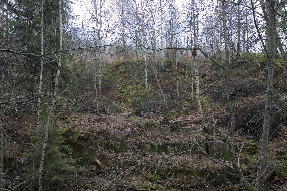 Aas gård, rester etter høylåven, sett fra vest. Låven hadde innkjøring fra øst.