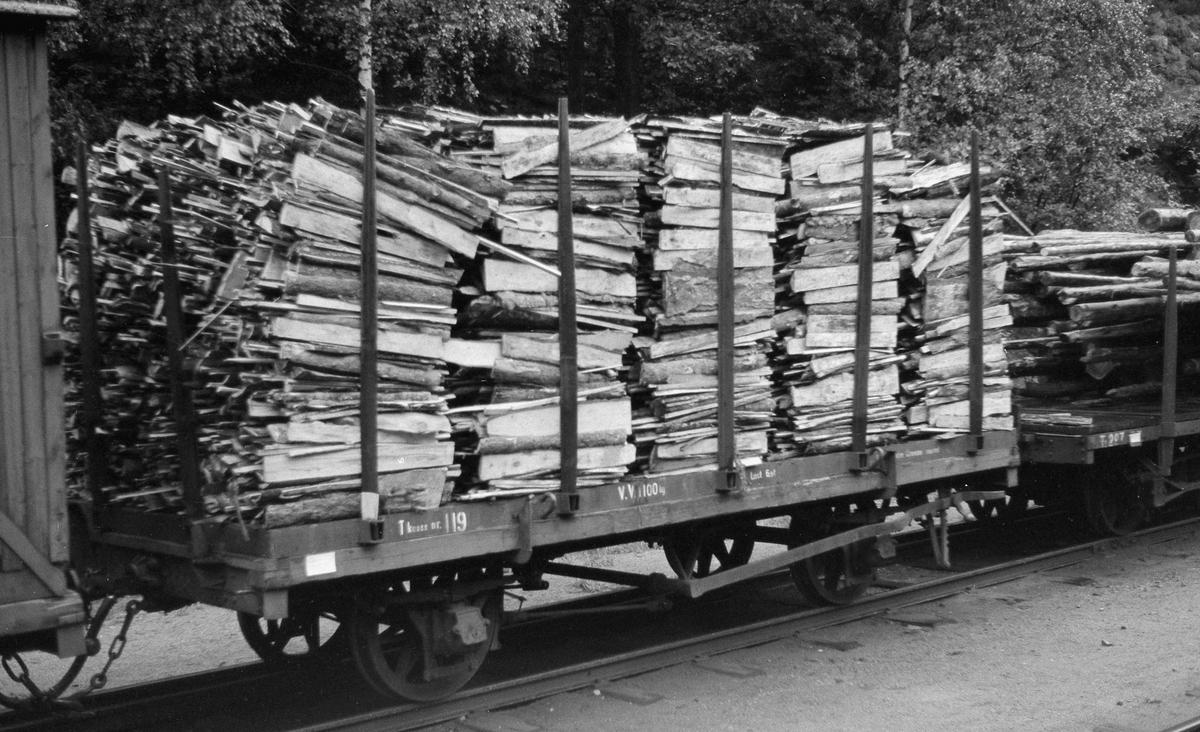 T-vogn med Setsdalsbanens løftekasse nr 119 lastet med bakhonved