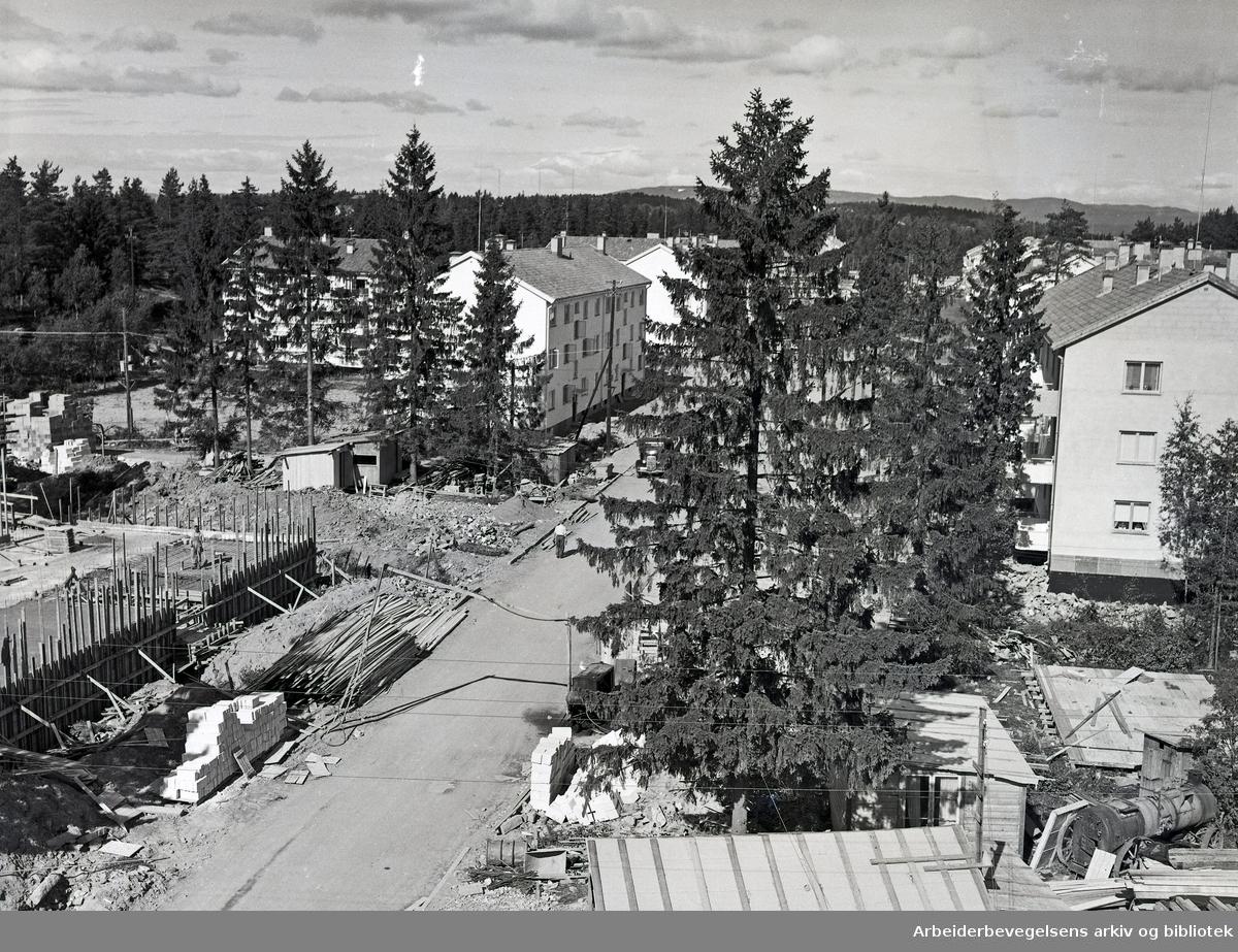 Byggefelt på Lambertseter, Østerliveien,.oktober 1953